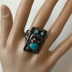 Jewelry - NAVAJO Sterling Silver Turquoise KACHINA ring s 8